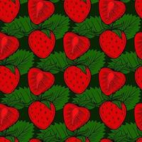 Strawberry berry seamless pattern. Hand drawn vector illustration fresh organic healthy fruit. Sweet Strawberry background.