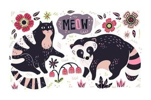 Vector flat hand drawn raccoon and cat with plants and flowers