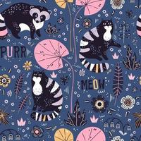Vector flat hand drawn raccoons and cats with plants and flowers. Seamless pattern.