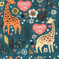 Vector flat hand drawn. Pattern. Giraffes with tropical plants and flowers.