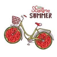 Vector illustration of bicycle with watermelon instead of wheels.