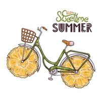 Vector illustration of bicycle with pineapple instead of wheels.
