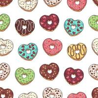 Vector pattern. Glazed donuts decorated with toppings, chocolate, nuts.