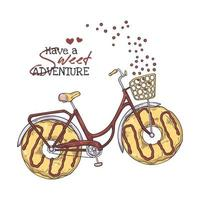 Vector sketching illustrations. Bicycle with donuts instead of wheels.