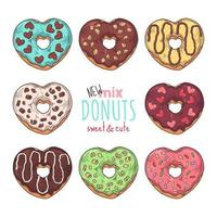 Big vector set of glazed donuts decorated with toppings, chocolate, nuts.