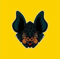 Bat head illustration vector