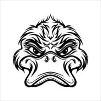 Lineart angry duck vector