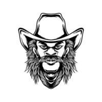 Lineart cowboy design vector
