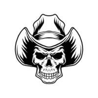 Lineart cowboy skull vector