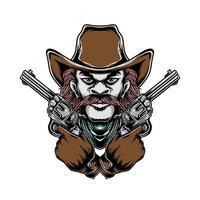 Cowboy and the cross handguns vector