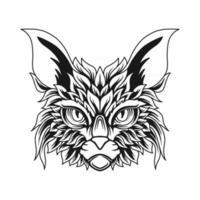 Lineart cat head illustration vector