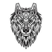 Lineart cyborg wolf vector