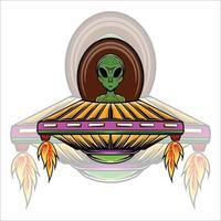 Alien rider illustration vector