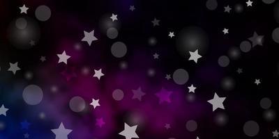 Plantilla de vector multicolor oscuro con círculos estrellas ilustración con conjunto de coloridas esferas abstractas textura de estrellas para cortinas de persianas de ventana