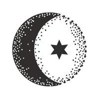 half moon star vector