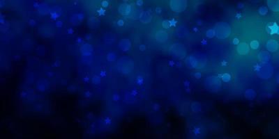 Plantilla de vector verde azul claro con círculos estrellas ilustración abstracta con formas coloridas de círculos estrellas textura para cortinas de persianas de ventana