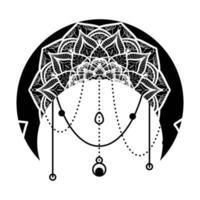 Moon Mandala Floral Ornament Hand Drawn Isolated vector