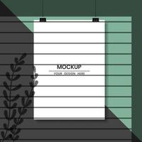 Blank hanging white paper with shadow overlay effect vector