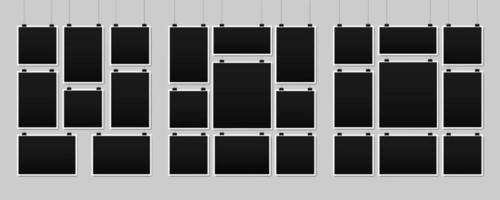 Blank hanging photo frames collection vector