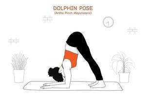Woman doing yoga asana dolphin pose or ardha pinch mayurasana vector