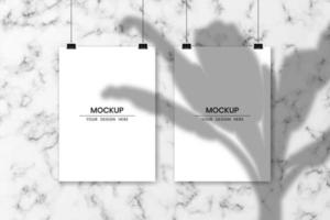Blank hanging white papers with white marble background and shadow overlay effect vector