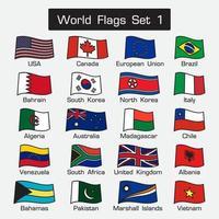 conjunto de banderas mundiales 1. estilo simple y diseño plano. contorno grueso. vector