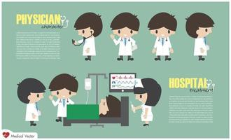 Doctor cartoon character and inpatient department in hospital . Vector . Flat design .