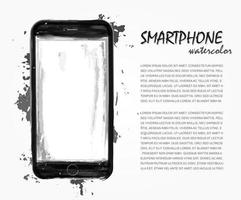 Realistic watercolor painting of smartphone with splash color . Artistic technological vector . You can use for technology decoration concept , logo , card ,  banner , advertisement poster  etc.