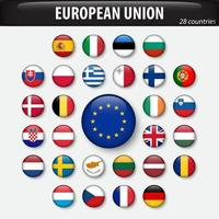 Flags of European Union and members . vector