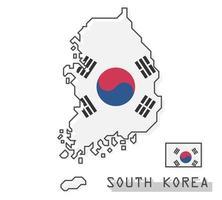 mapa y bandera de corea del sur. diseño de dibujos animados de línea simple moderna. vector