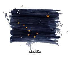 bandera de la pintura de la acuarela de alaska. vector. vector
