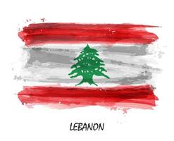 Realistic watercolor painting flag of Lebanon . Vector .