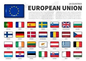 European union  EU  and membership flag . Association of 28 countries . Round angle shiny rectangle button and europe map background . Vector .