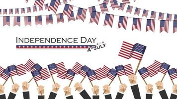 Independence day of USA  4th July  . Many people hold and raise up waving america flag and bunting flags above them . Flat design . Vector .