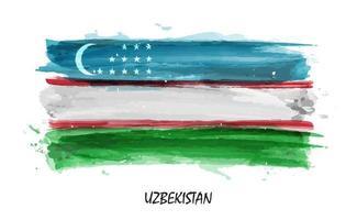 Realistic watercolor painting flag of Uzbekistan . Vector .