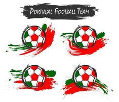 Set of Portugal national football team symbol on isolated background . Watercolor paint style . Flat design . Vector for international world championship tournament cup 2018 .