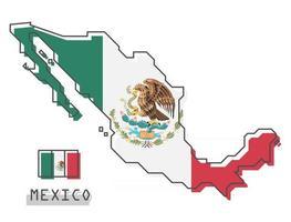 Mexico map and flag . Modern simple line cartoon design . Vector .