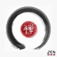 Enso zen circle with kanji calligraphic  Chinese . Japanese  alphabet translation meaning zen . Watercolor painting design . Buddhism religion concept . Sumi e style . Vector illustration .