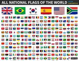 All national flags of the world . Ratio 4 - 6 design with float sticky note paper style . Elements vector .