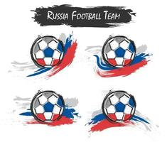 Set of Russia national football team symbol on isolated background . Watercolor paint style . Flat design . Vector for international world championship tournament cup 2018 .