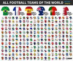conjunto de toda la camiseta nacional de fútbol o equipo de fútbol del mundo. Mezcla de la bandera de la nación con estilo de ropa. elementos vectoriales para el concepto de campeonato internacional de copa deportiva. diseño plano simple. vista frontal . vector