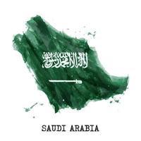 Diseño de pintura de acuarela de bandera de Arabia Saudita. forma del mapa del país. concepto del día de la independencia el 23 de septiembre. vector. vector