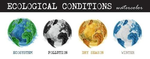 Ecological conditions . Realistic watercolor painting design . 4 condition of world are ecosystem , pollution , dry season , winter . Isolated background . Environment and Global warming concept . vector