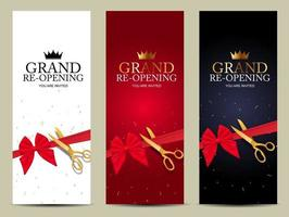 Grand RE-Opening Card Business Poster Background. vector