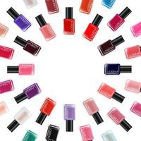 Nail polish collection on white background. Cosmetic product template for advertisement, magazine, product sample vector