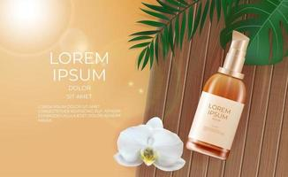3D Realistic Beauty Product Cream Bottle Background. Design Template of Fashion Cosmetics Product vector