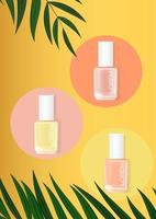 Nail polish summer palm background. cosmetic product template for advertisement, magazine, product sample vector