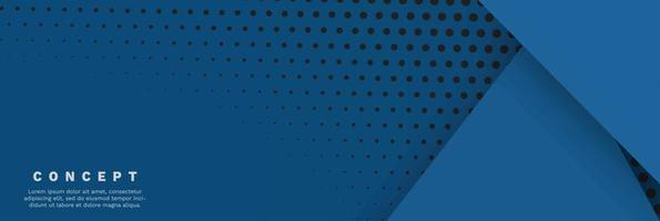 Minimal geometric blue background. Dynamic blue shapes composition with orange lines. vector