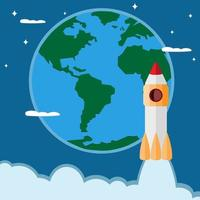 Space rocket icon on the background of the Earth in the flat style vector