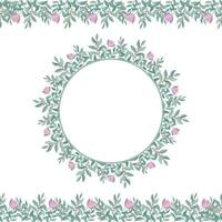 Botanical Romantic Round Flower Frame and Seamless Border Design vector